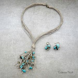 Labradoryt i howlit - komplet biżuterii