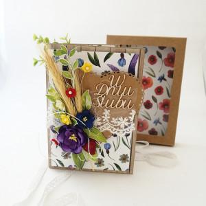 Łąka kwietna- kartka ślubna w pudełku