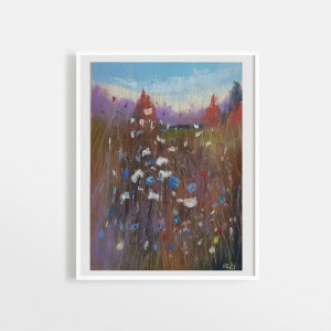 Łąka-praca wykonana pastelami  18/24 cm