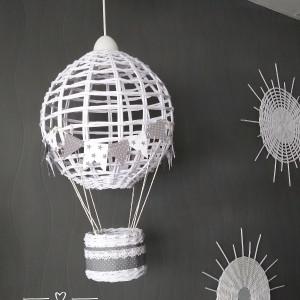 Lampa BALON III biała szary koronka