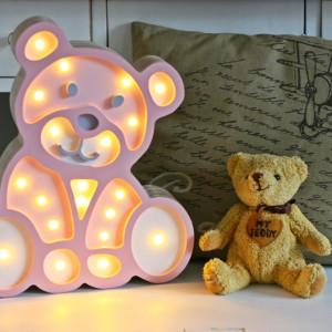 Lampa drewniana LED do dziecięcego pokoju - MIŚ