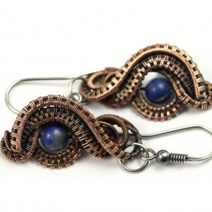 Lapis lazuli, miedziane kolczyki z lapisem oko