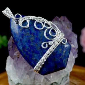 Lapis lazuli, srebrny wisior z lapis lazuli
