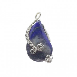 lapis lazuli wisior w srebrze wire wrapping