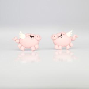 Latające świnie - kolczyki wkręty