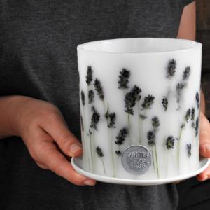Lawendowe wzgórza - lampion z ceramiczną podstawką