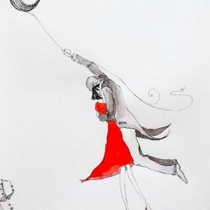 """""""Lecimy na księżycu"""" akwarela artystki A. Laube"""