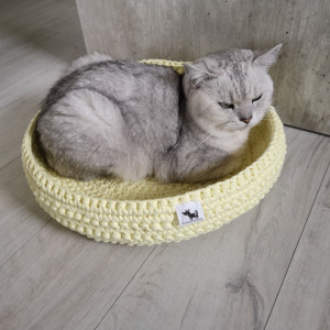 Legowisko dla kota dla psa plecione Cytrynowe