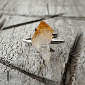 Lemon II-srebrny pierścionek z cytrynem