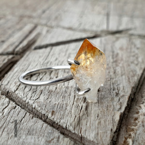 Lemon-srebrny pierścionek z cytrynem
