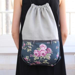 Len, bawełna w kwiaty, worek plecak, lekki plecak