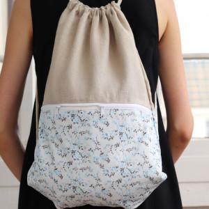 Len i bawełna, worek plecak, lekki plecak w kwiaty