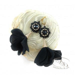 Letnie Kwiaty czarne Swarovski kolczyki