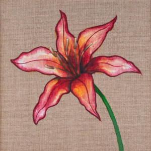 Lilia malowana farbami akrylowymi na płótnie
