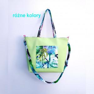 Limonkowa torebka z kieszonką w kolorowe liście