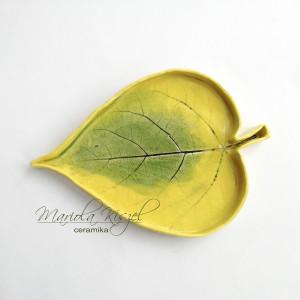 Listek żółty paterka ceramiczna