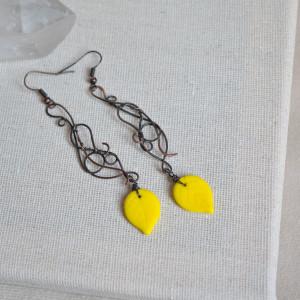 Listki żółte - długie kolczyki z miedzi
