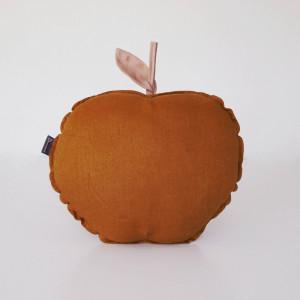 Lniana poduszka jabłko- karmel