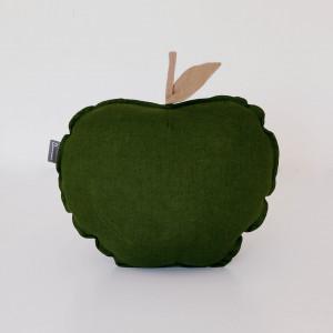 Lniana poduszka jabłko- zielone