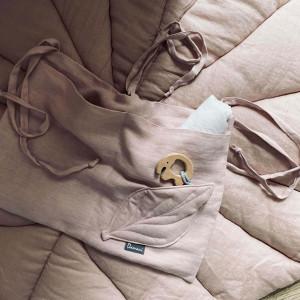 Lniany organizer na łóżeczko - pudrowy brudny róż