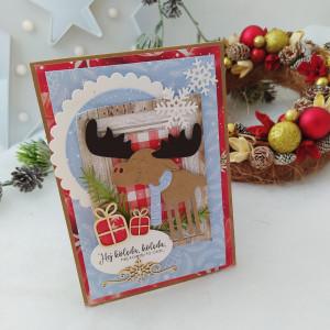 Łoś z prezentami - kartka świąteczna