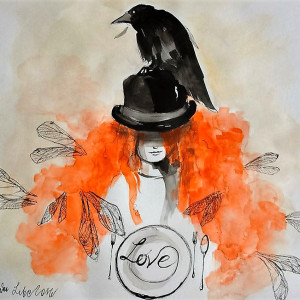 """LOVE"" akwarela artystki Adriany Laube 40x40cm"
