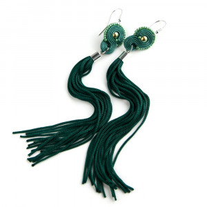 Maike Green - długie kolczyki boho, srebro