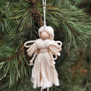 Makrama aniołek, dekoracja na choinkę
