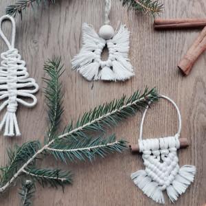 Makrama dekoracje na choinkę