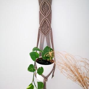 Makrama kwietnik wiszący ścienny Leaf II brąz