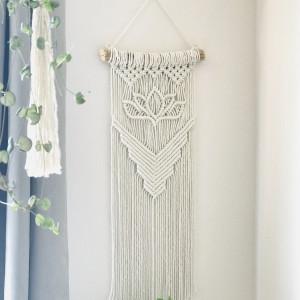 Makrama na ściane z kwiatem lotosu, styl boho
