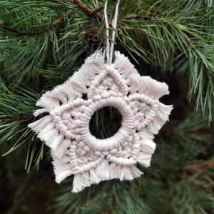 Makrama śnieżynka/gwiazdka, dekoracja na choinkę