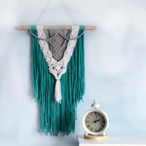 Makrama turkusowa na ścianę 50x85 cm