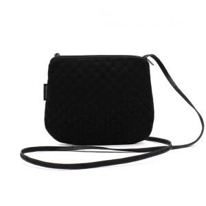 Mała czarna elegancka torebka damskabiałym haftem