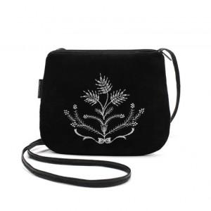 Mała czarna torebka damska z białym haftem