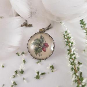 Maliny, Ręcznie malowany naszyjnik, miniatura