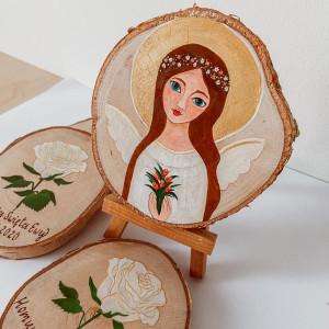 malowane krążki brzozowe- pamiątka komunii,chrzcin