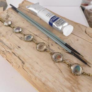 Malutkie piórka, Ręcznie malowana bransoletka
