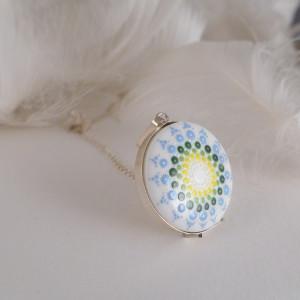 Mandala 2 Porcelanowy naszyjnik srebrny wianek