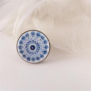 Mandala 4 Pierścionek z porcelanowym kaboszonem