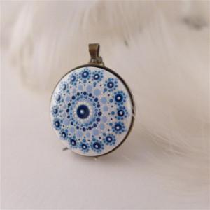 Mandala 4 Porcelanowy naszyjnik ręcznie malowany