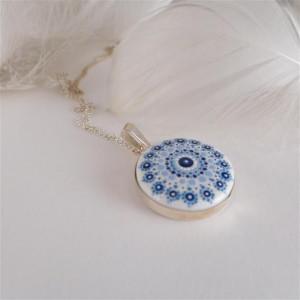 Mandala 4 Porcelanowy naszyjnik srebrny wianek