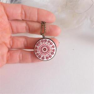 Mandala 5 Porcelanowy naszyjnik ręcznie malowany