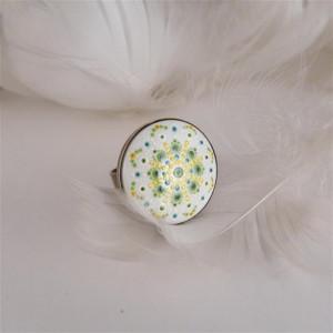 Mandala 6 Pierścionek z porcelanowym kaboszonem