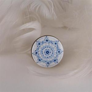 Mandala 7 Pierścionek z porcelanowym kaboszonem