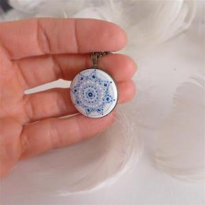 Mandala 7 Porcelanowy naszyjnik ręcznie malowany