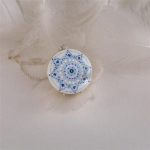 Mandala 7 Porcelanowy naszyjnik srebrny wianek