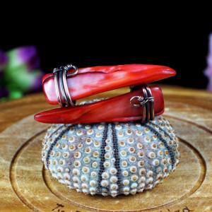 Masa perłowa miedziane kolczyki z masą perłową red