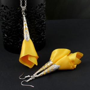 Materiałowy Komplet Żółty - Kolczyki i Wisiorek