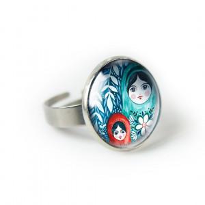 Matrioszki pierścionek z ilustracją